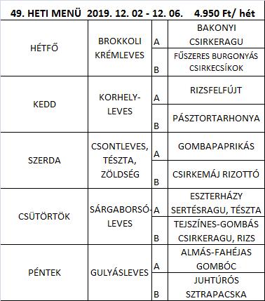 Tárnoki Falatka Étterem Étlap 49. hét